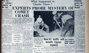 Experts probe mystery of Comet crash: 66 killed after plane crashes near Rhodes in mysterious circumstances. Some reports suggest a bomb could have been planted on board because General Grivas was thought to be on the plane - October 14, 1967