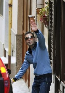 File photo of Giuseppe Salvatore Riina, the son of the most feared Sicilian Mafia boss, waving as he leaves his mother's house in Corleone