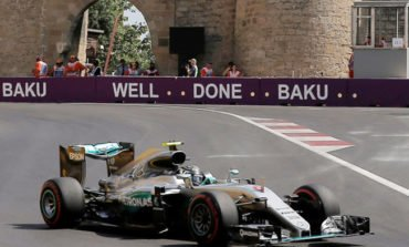 Rosberg on pole in Baku after Hamilton hits wall