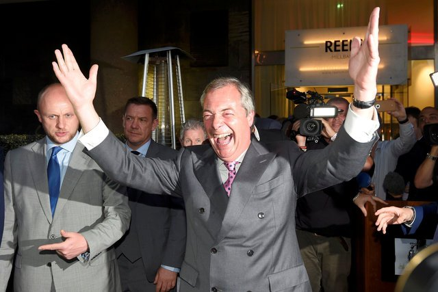 A jubilant Nigel Farage, leader of the United Kingdom Independence Party (UKIP)