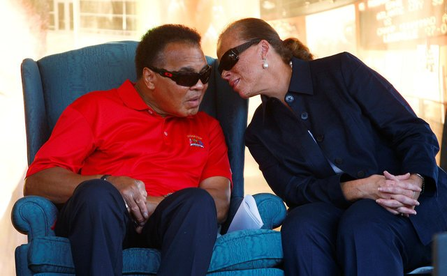 Muhammad Ali and his wife Lonnie attend a Ryder Cup reception at the Muhammad Ali Center in Louisville, Kentucky, in this September 17, 2008