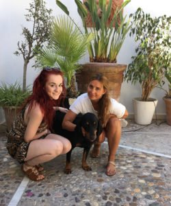 feature dog - Eve Moore with Louise Redknapp and Corky after their long journey to Majorca