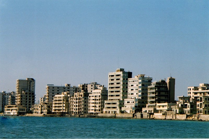 Beachfront apartments with Alassia restaurant and club bottom left