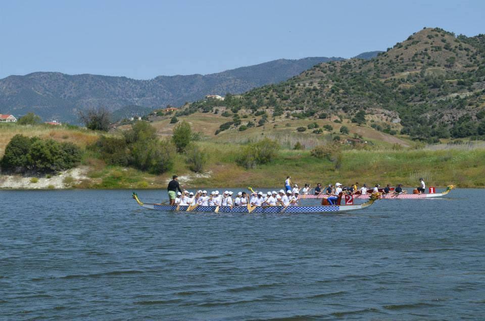 Dragon boat racing in Yermasoyia reservoir