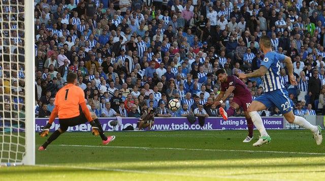 aguero Aguero on target as Man City down promoted Brighton