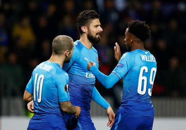 Arsenal's Giroud reaches century milestone in Europa League win