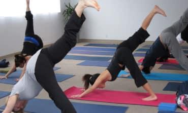 Prisoners practising yoga