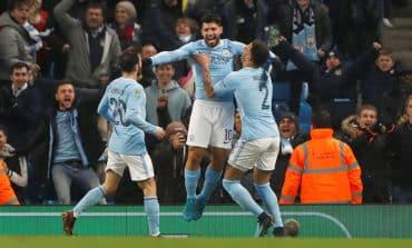 Man City's Aguero heads late winner in League Cup semi first leg