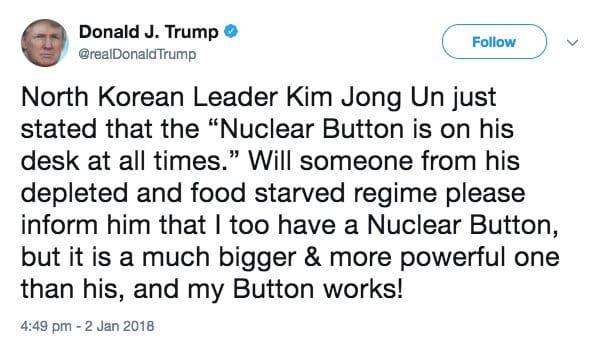 Trump says his nuclear button 'bigger' than N. Korea's