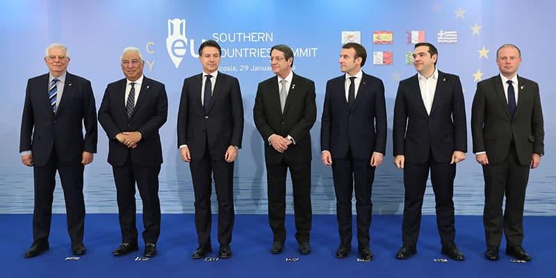 MED-7 summit From L-R: Spanish FM Josep Borrell, Portugese PM Antonio Costa, Italian PM Giuseppe Conte, President Anastasiades, French President Emmanuel Macron, Greek PM Alexis Tsipras, Maltese PM Josehp Muscat (CNA)