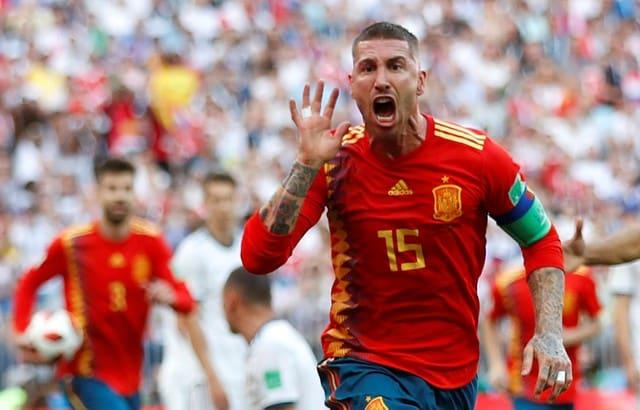 Spain's Sergio Ramos celebrates