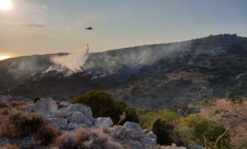 Fire burns wild vegetation in Paphos