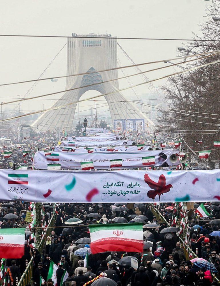 Militant Iran taunts U.S. on revolution's 40th birthday