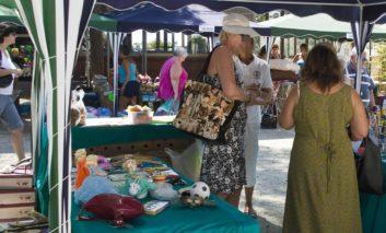 Sunset street market in Paphos on Saturday