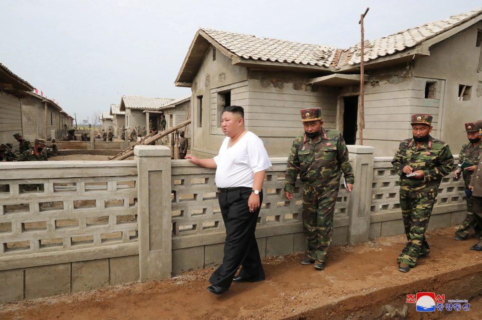 North Korea's Leader Kim Jong Un Inspects A Flood Hit Site In Taechong Ri