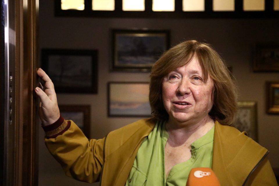 The 2015 Nobel Literature Laureate Svetlana Alexievich Speaks To Reporters At Her Apartment In Minsk