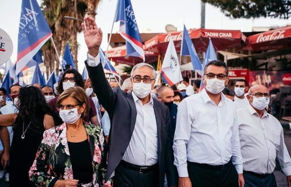 Feature Agnieszka Main Mustafa Akinci And Tufan Erhurman On The Campaign Trail In Northern Nicosia On Friday (nevzat Ozkurt)