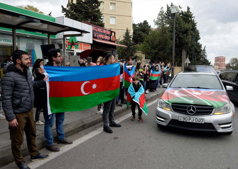 People Celebrate On The Streets After Azerbaijan's President Aliyev Said The Country's Forces Had Taken Shusha (shushi) During The Fighting Over The Breakaway Region Of Nagorno Karabakh, In Baku