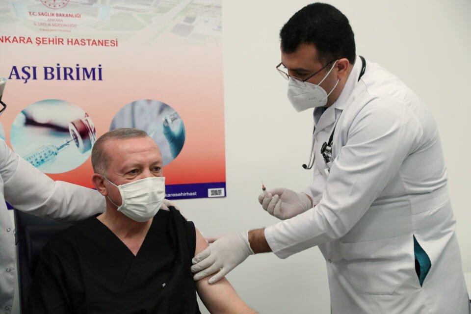 Turkish President Erdogan Receives A Shot Of The Sinovac's Coronavac Coronavirus Disease (covid 19) Vaccinein Ankara
