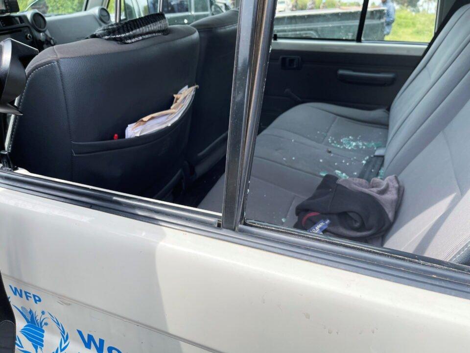 a view shows shuttered car windows at the scene where the italian ambassador to democratic republic of congo luca attanasio was killed in ruhimba village