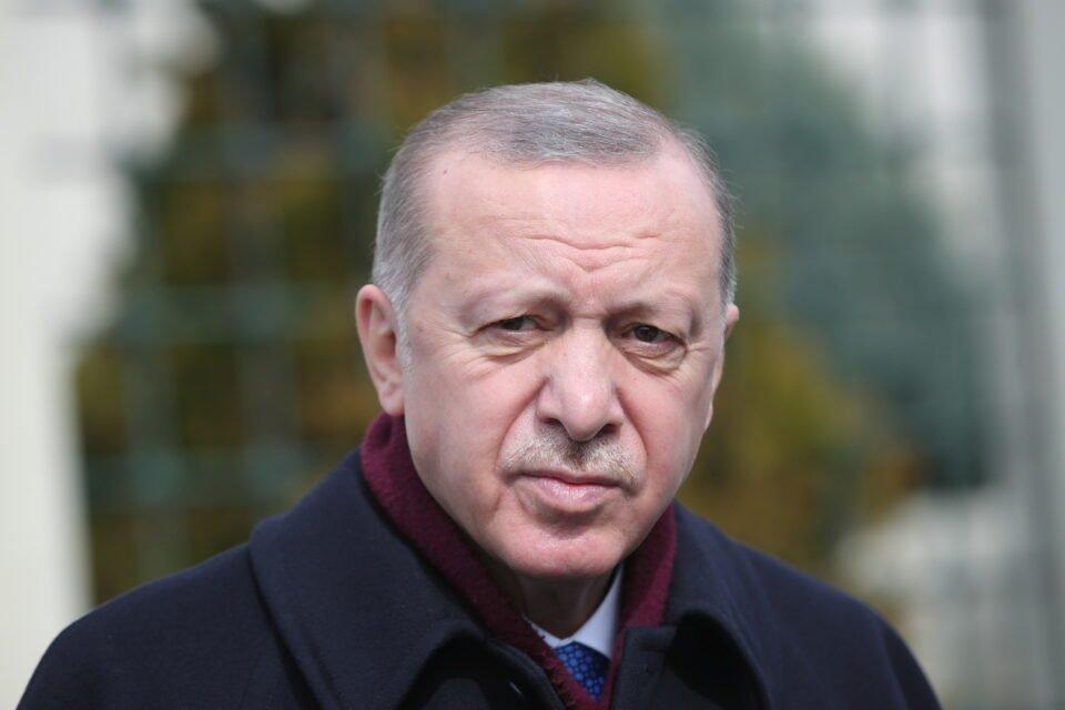 turkish president erdogan talks to media after the friday prayers in istanbul