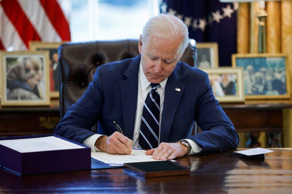 u.s. president biden signs the american rescue plan in washington