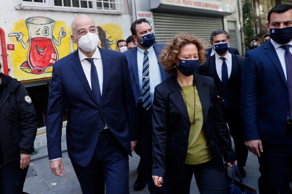 greece's fm dendias walks in beyoglu district in istanbul