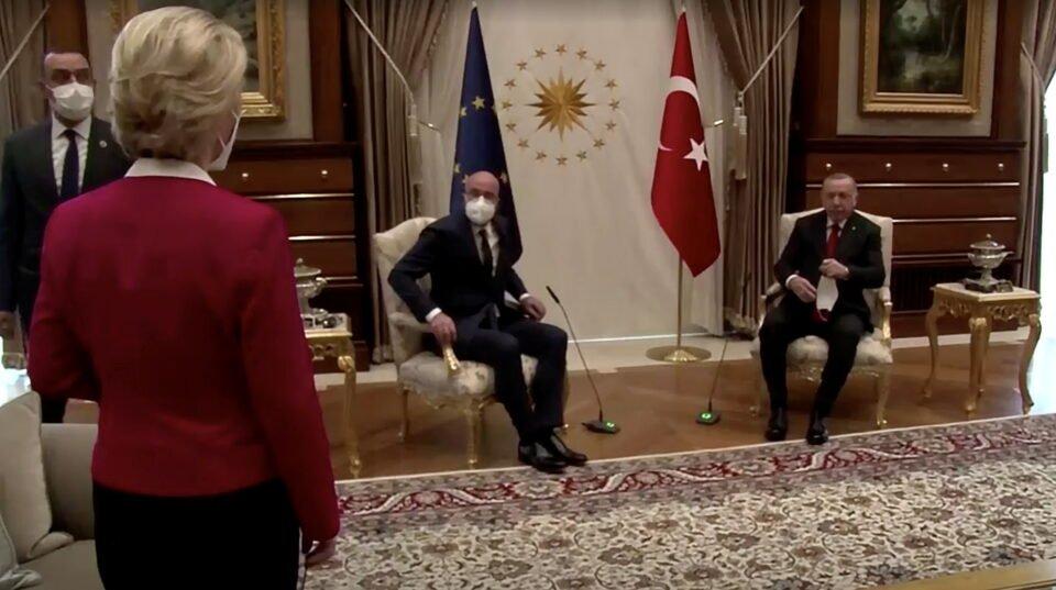european commission president ursula von der leyen stands as european council president michel and turkish president erdogan take seats in ankara
