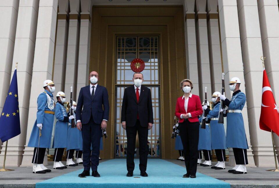 turkish president erdogan meets with european council president michel and european commission president von der leyenin ankara