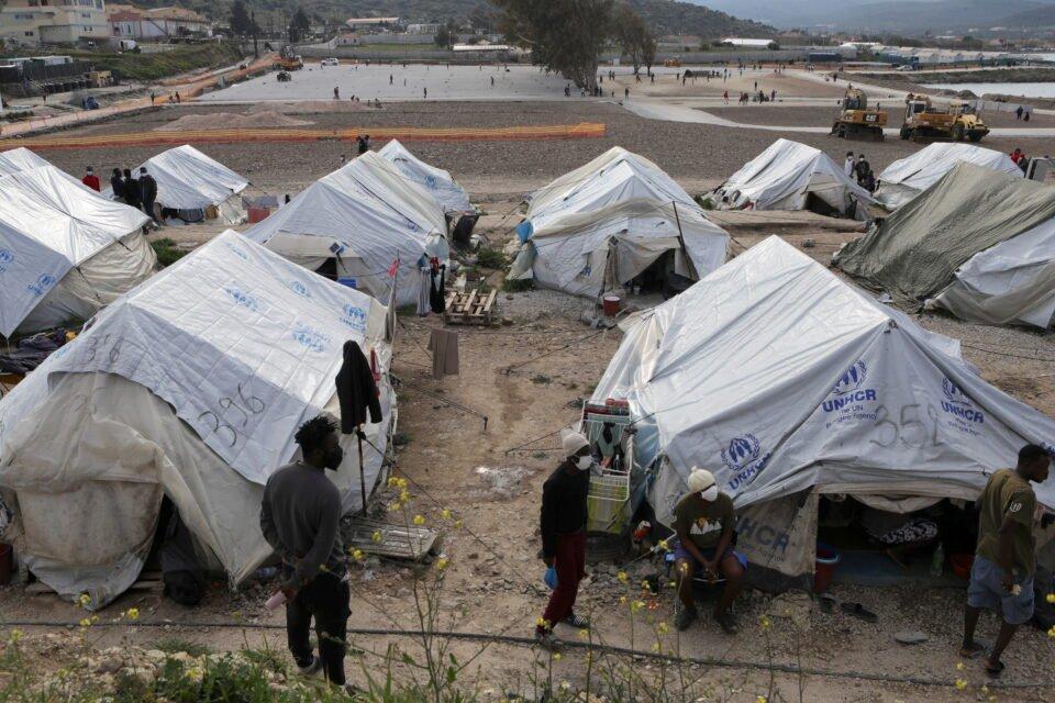 file photo: mavrovouni refugee camp on the island of lesbos