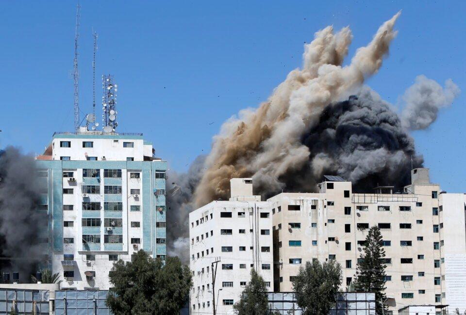 gaza tower housing ap, al jazeera collapses after missile strike in gaza city