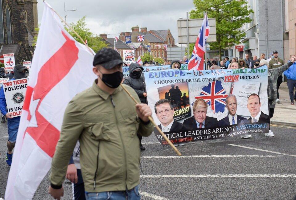 anti northern ireland protocol protestors demonstrate in portadown