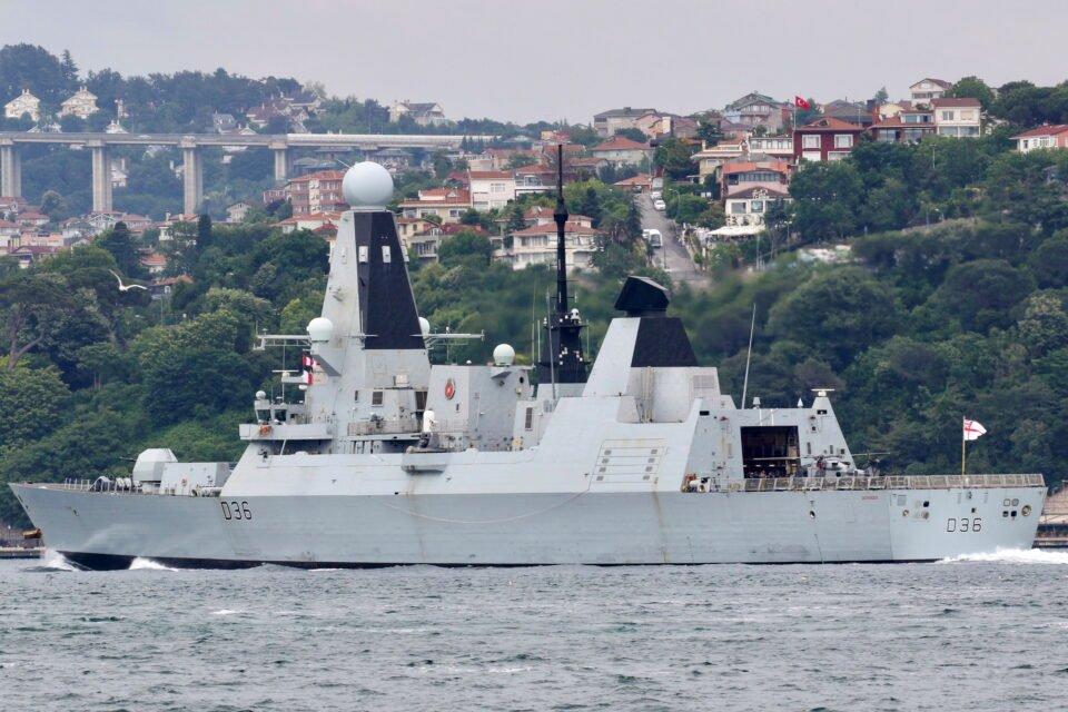 british royal navy hms defender sets sail in istanbul's bosphorus
