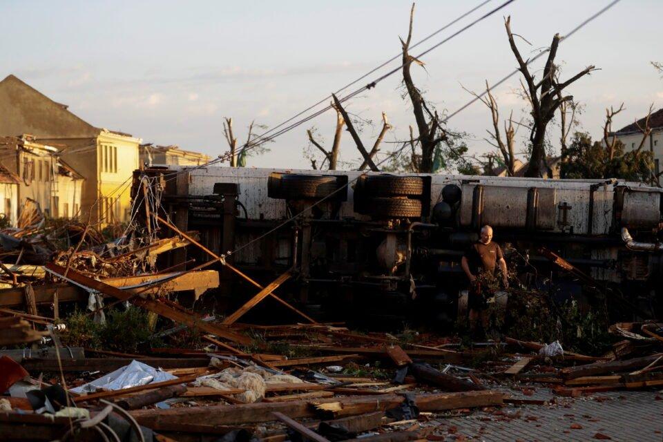 aftermath of rare tornado in moravska nova ves