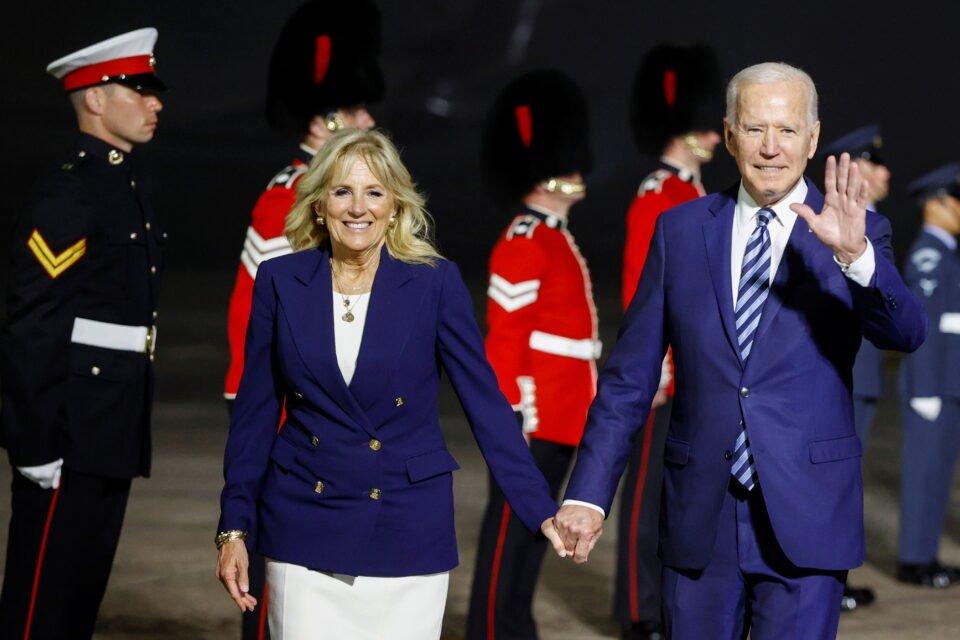 u.s. president joe biden and first lady jill biden react upon arrival at cornwall airport newquay, near newquay