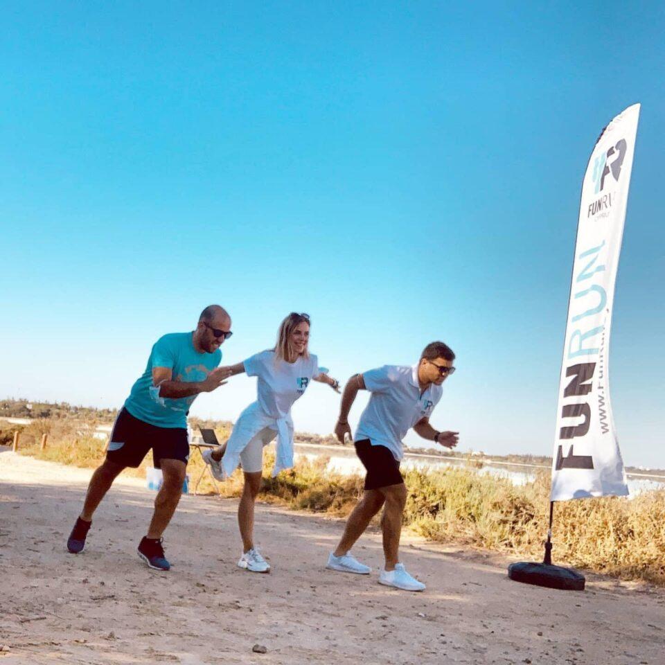 Fun Run Cyprus co-founders Achilleas Kolonas, Anastasija Tarasevic and Paris Kolonas