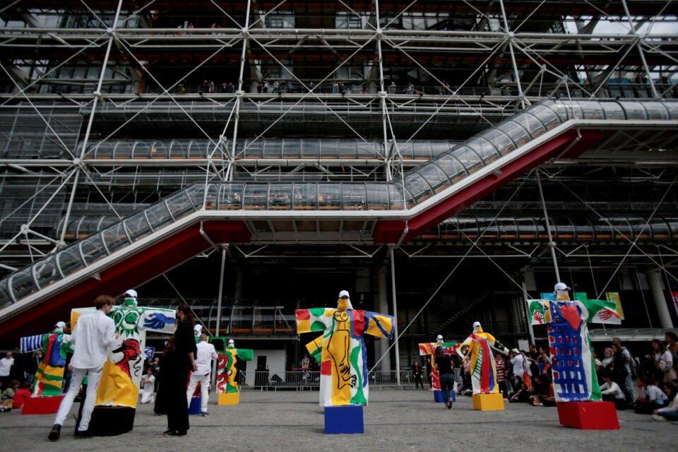 artist jean charles de castelbajac presents a performance at piazza beaubourg in paris