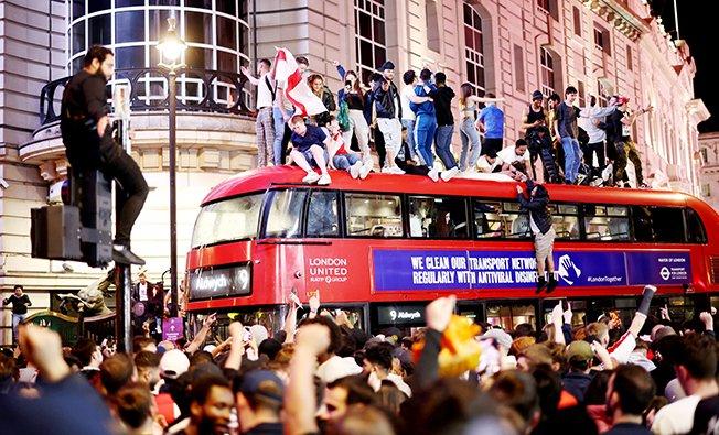 euro 2020 fans gather for england v denmark