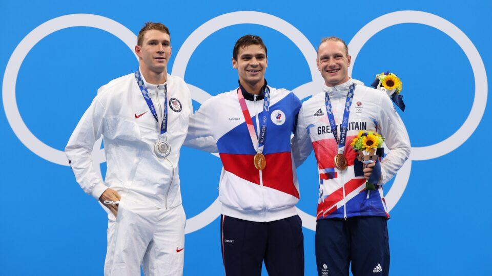 swimming men's 200m backstroke medal ceremony