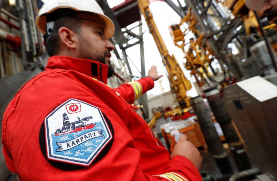 a tpao engineer talks to media members on board the turkish drilling vessel yavuz at dilovasi port in kocaeli