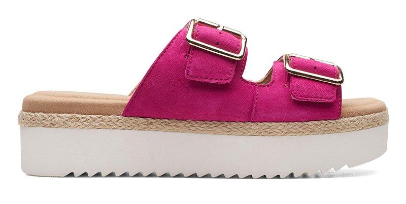 fashion2 clarks flatform double buckle hot pink suede sandals