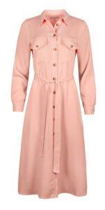 fashion3 oliver bonas safari pink midi shirt dress