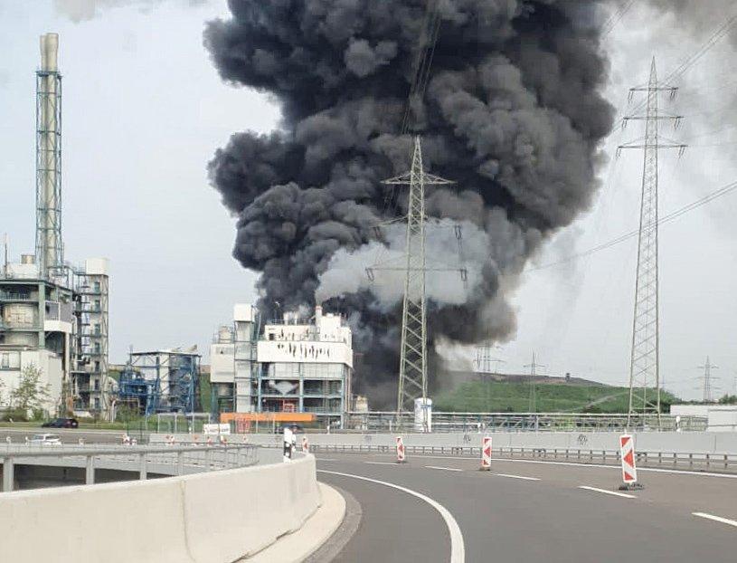 smoke billows following an explosion in leverkusen, germany