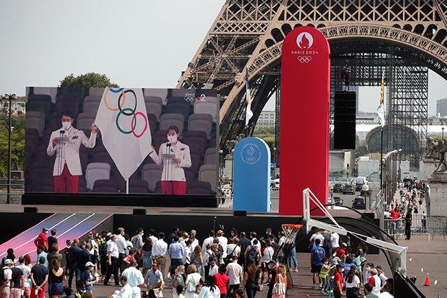 fans gather in fan zone at trocadero gardens in paris as tokyo 2020 olympic games start