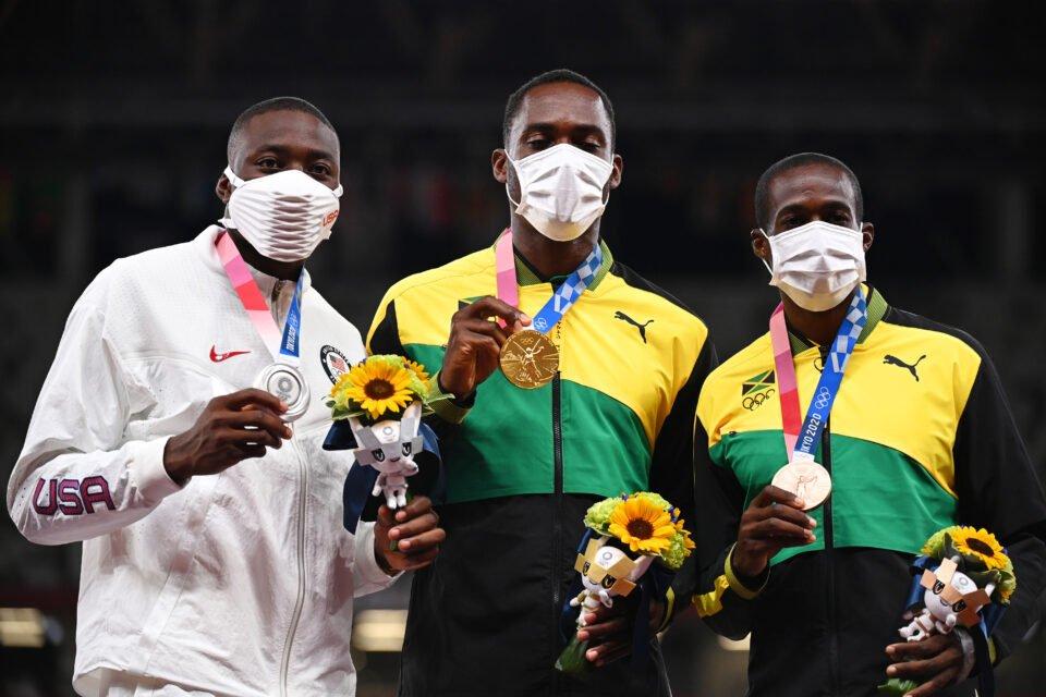 athletics men's 110m hurdles medal ceremony