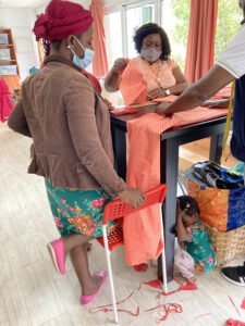 thanks to donated fabrics people can practice and sew clothes for themselves