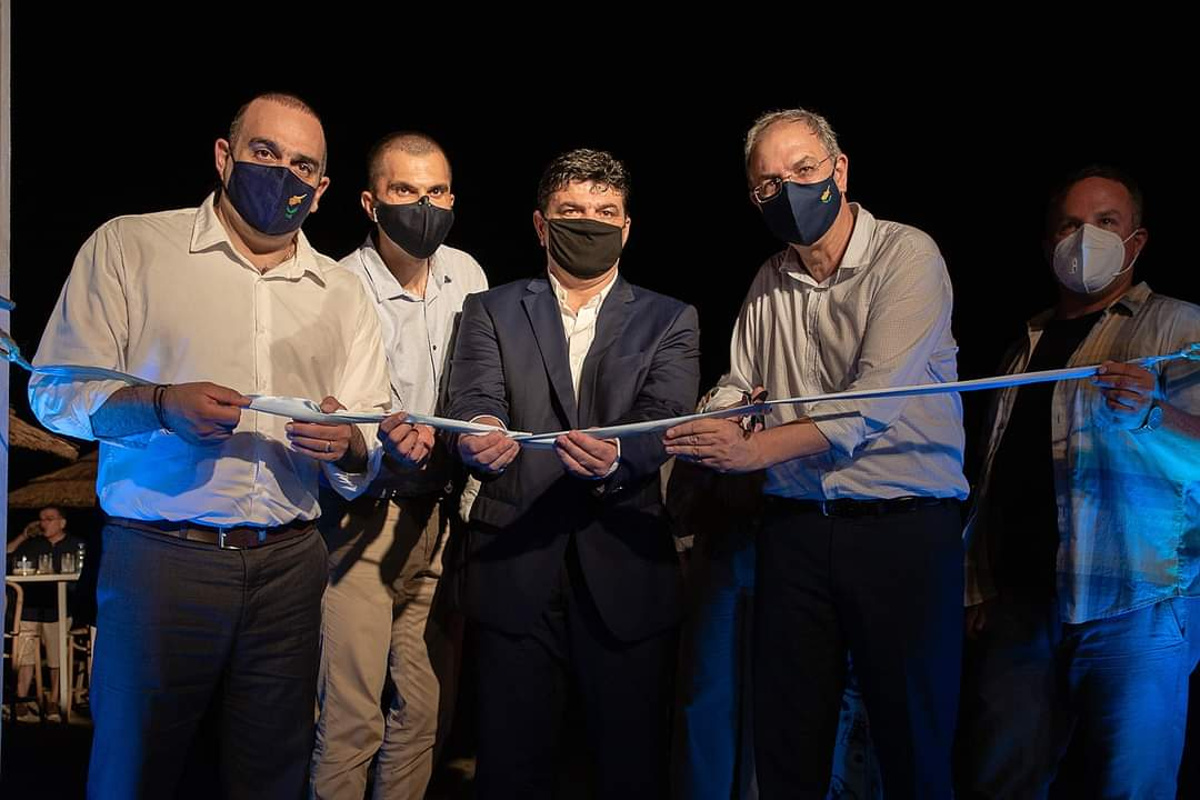 feature musan from left yiannis karousos, savvas perdios, ayia napa mayor christos zannettou, agriculture minister costas kadis and the artist jason decaires taylor at the opening last week