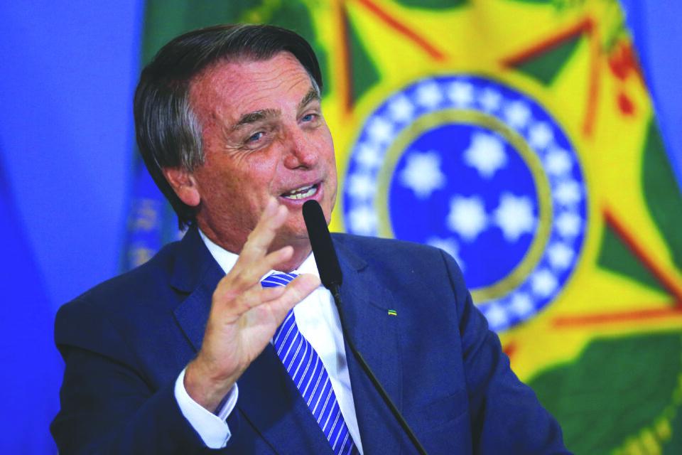 brazil's president jair bolsonaro speaks during a ceremony at the planalto palace