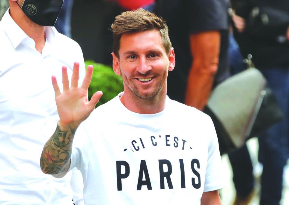file photo: lionel messi arrives in paris to join paris st germain