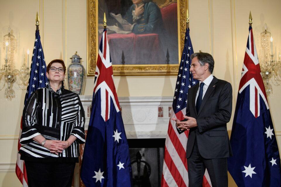 u.s. secretary of state blinken and australian foreign minister payne meet in washington